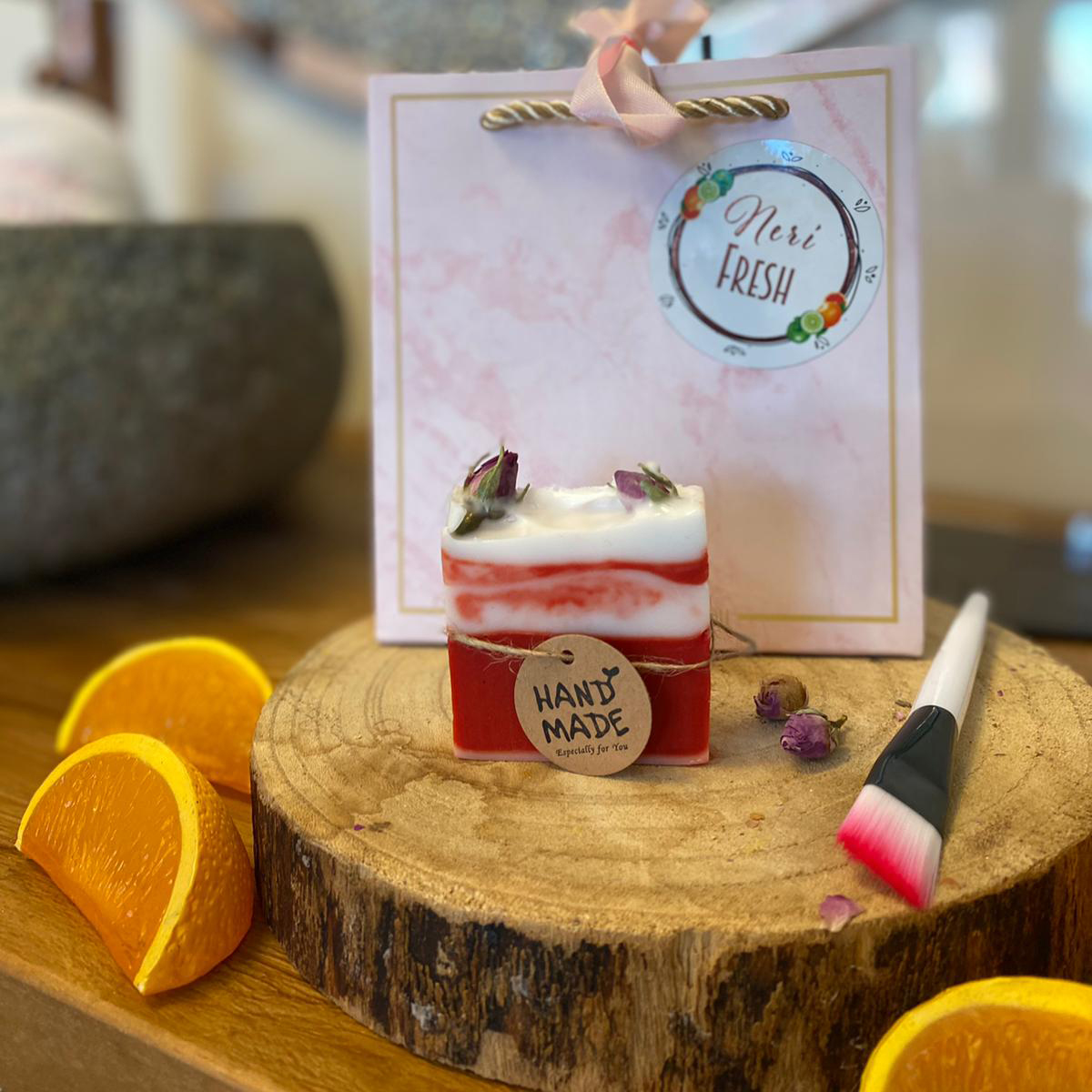 Aardbeien-Rozen zeep